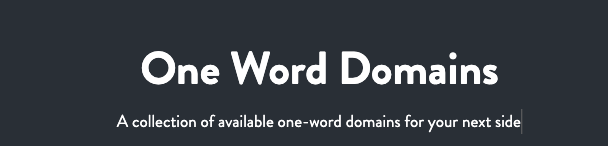 One Word Domains